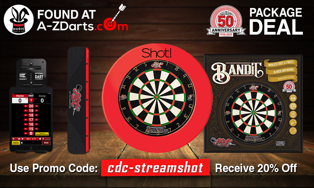 Use coupon code cdcstreamshot to receive 20% off the Shot Anniversary Deal found at A-ZDarts.com - the top darts provider.